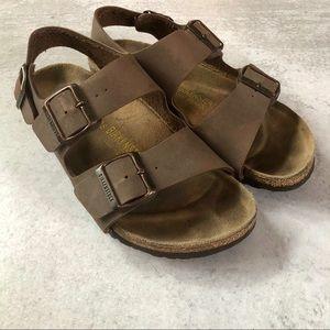 Birkenstocks   Brown Sandals w/ Heel Buckle Strap